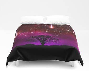 Galaxy Tree Duvet Cover Lilac Space Duvet Cover King Size Bed cover King Duvet Queen Duvet Full Duvet Twin Nebula Duvet Stars Duvet Cover