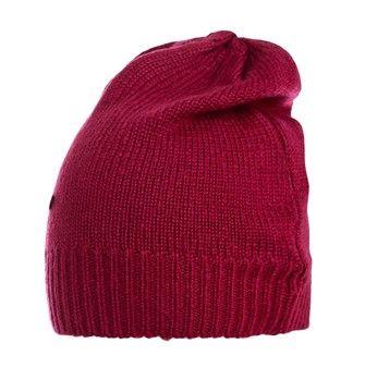AMY GEE Cuffia tricot a coste morbida vinaccia