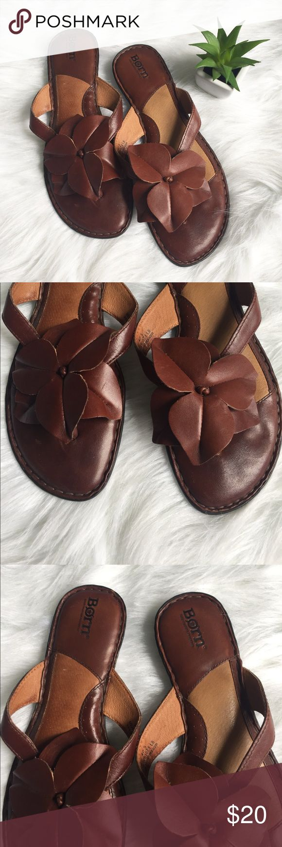 Born Leather Flower Accent Sandals Gently used condition, minimal wear (limited to foot beds). Mostly genuine leather. Size 9. Gorgeous hand crafted stitching and details. Born Shoes Sandals