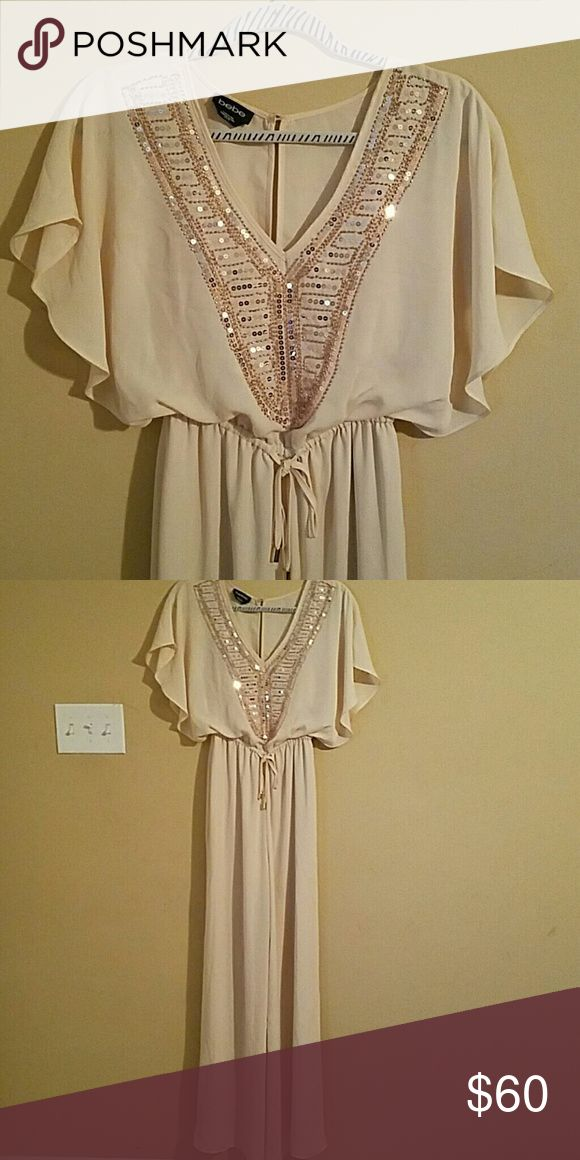 Sequined nude jumpsuit Perfect condition! Very classy. Bebe Dresses