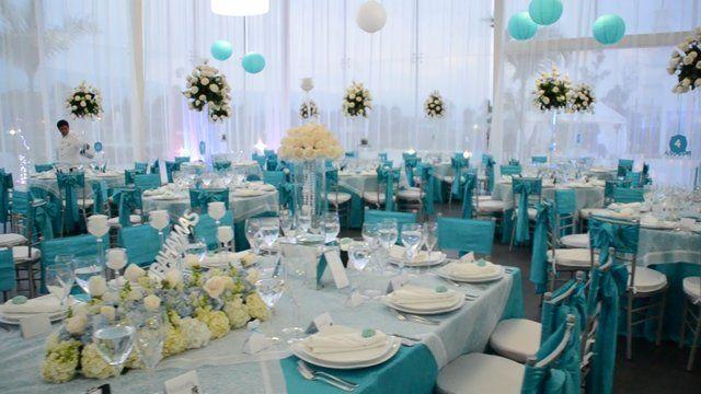 Boda en color azul turquesa mi boda pinterest bodas for Decoracion de salon para boda