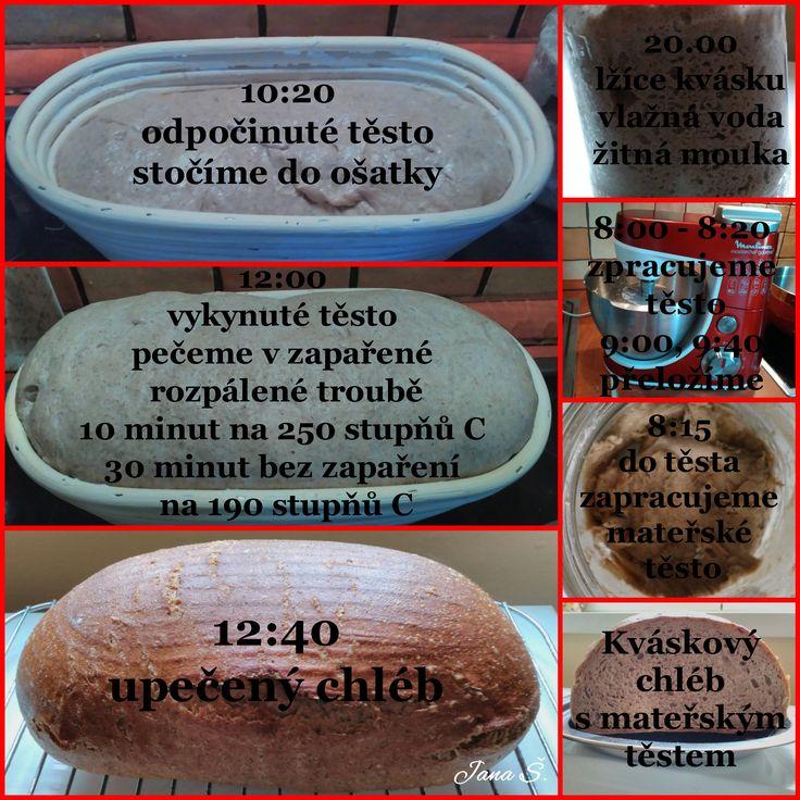 Pšeničnožitný kváskový chléb s mateřským těstem - časový rozpis
