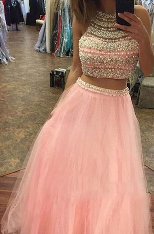 sexy two piece prom dresses. prom dresses with pearls, new arrival prom dresses . 2017 cheap prom dresses, dresses for women pink, lovely prom party dresses