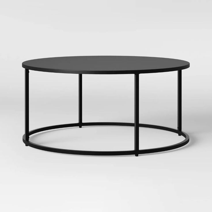 Glasgow round metal coffee table black project 62 in