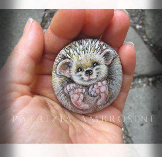 Hedgehog No.2  Handpainted rock painting painted stone miniature painted rock pebble fine art