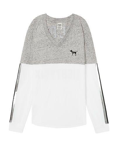 af8d5ec91726e Sequin Bling Varsity V-Neck Long Sleeve Tee | clothes | Long sleeve ...