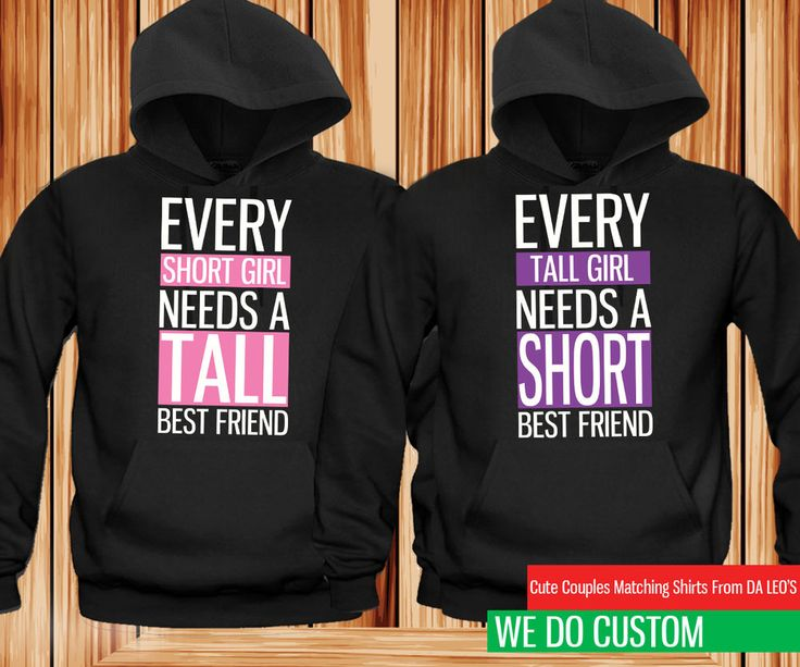 cute best friend hoodies short and tall matching black