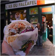 L'As du Fallafel, in the Marais, Paris. Best falafel sandwich: super-crisp, garlicky chickpea fritters, with creamy hummus, lightly pickled red cabbage, salted cucumbers, fried eggplant and harissa.