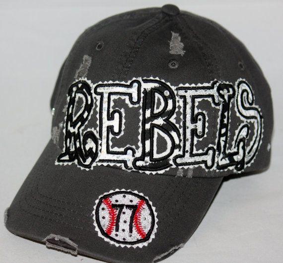 Custom baseball hat. Embroidered applique Rebels hat.