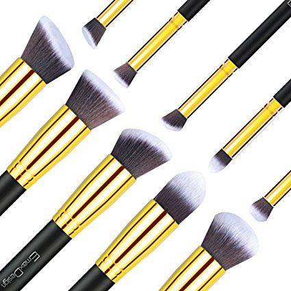 EmaxDesign - Set di pennelli per trucchi, 10 pezzi per fondotinta, fard, ombretto, cipria, creme, + 1 spugnetta: Amazon.it: Bellezza