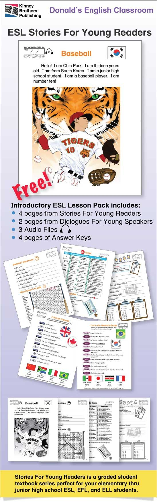 Stories For Young Readers, Lesson Pack 1, is a Free introduction to this popular ESL series.  Beginning with present tense 'be' verb practice, the lesson pack includes a word search puzzle, grammar chart, easy grammar practice with a student survey, and two easy dialogues.  #ESL #EFL #ELL