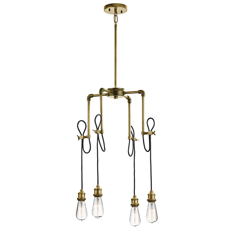 Rumer 4 light mini chandelier in natural brass nbr industrial