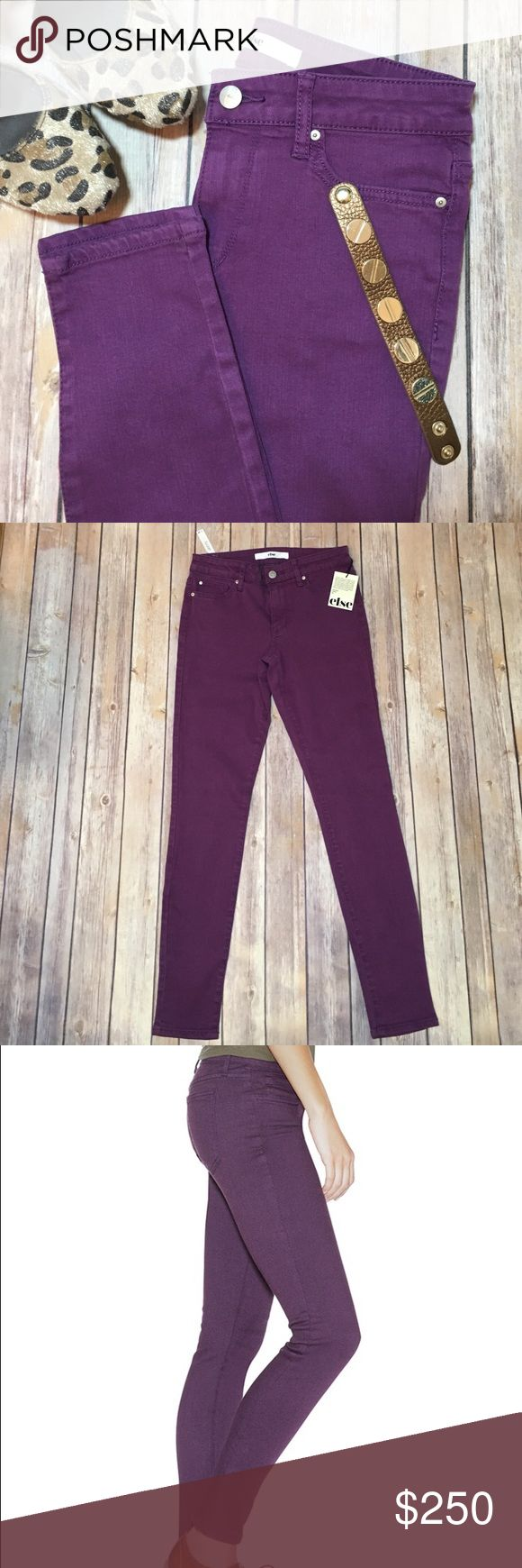 "Purple skinny jean Else NWT purple skinny jeans. Mid rise and super stretchy size 26. Approx measurements waist 27"", hips 30"", rise 9"", inseam 29"". Please use the offer button for all offers and bundle for a bigger discount. Thanks 40 Else Jeans Skinny"