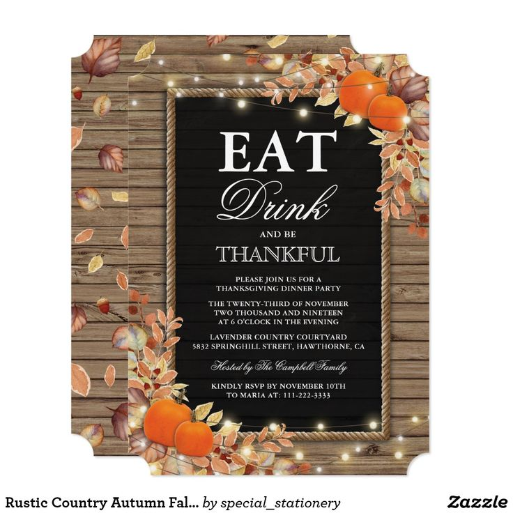 Rustic Country Autumn Fall Harvest Thanksgiving Card Rustic thanksgiving dinner party invitations featuring a country chic wooden background, black chalkboard centrepiece, rope, halloween pumpkins, fall foliage, acorns, a scattering of autumn leaves, string twinkle lights and a personalized party invitation text template.