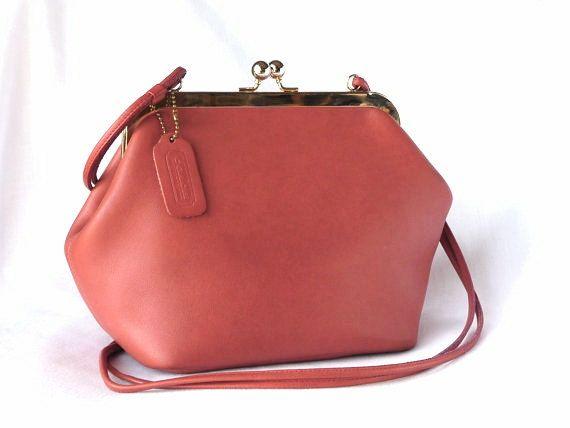 Real Coach Purse >> Vintage COACH Kisslock Frame Handbag in Coral Pink Leather   A kiss, Coach handbags and Billie piper