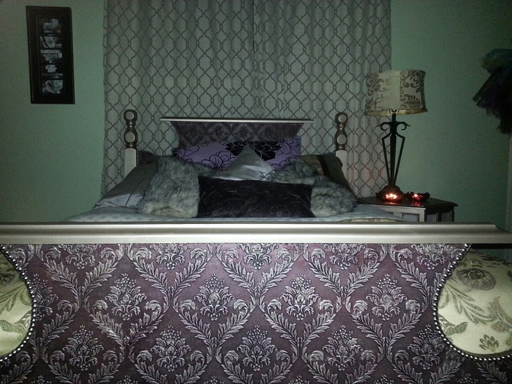 Headboard redone using paintable wallpaper painted and