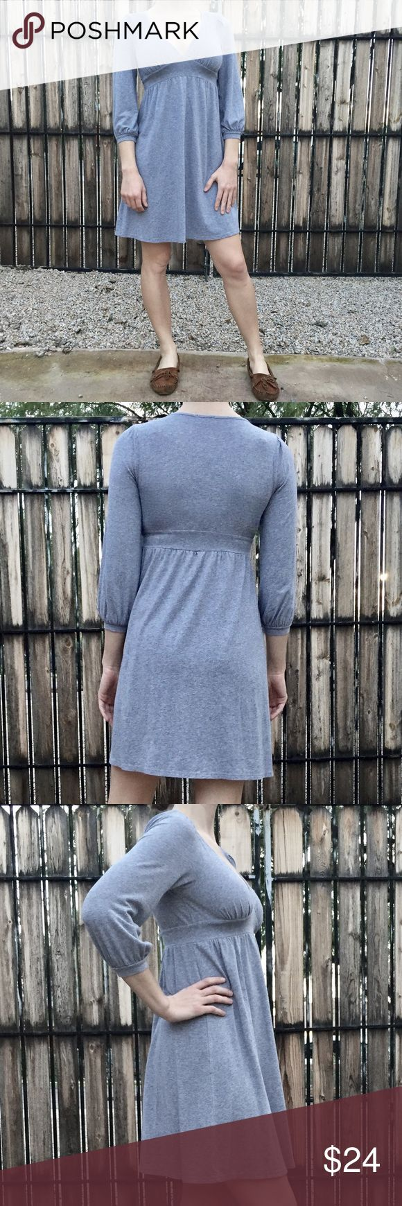 Ella Moss Gray Jersey Empire Waist Dress Ella Moss jersey knit heather gray dress. Empire waist with deep v neckline. Super comfy and casual. Great with a pair of sandals in the summer or wear with leggings and layer for colder weather. Size S, excellent used condition. Ella Moss Dresses