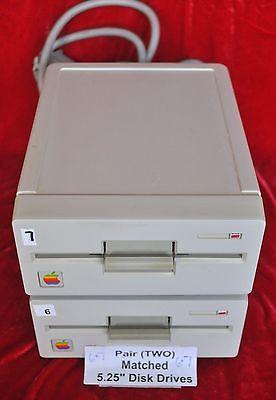 "Pair TWO Vintage Apple 5.25"" Disk Drives A9M0107 IIe/IIGS Tstd w/ 1 yr grantee"