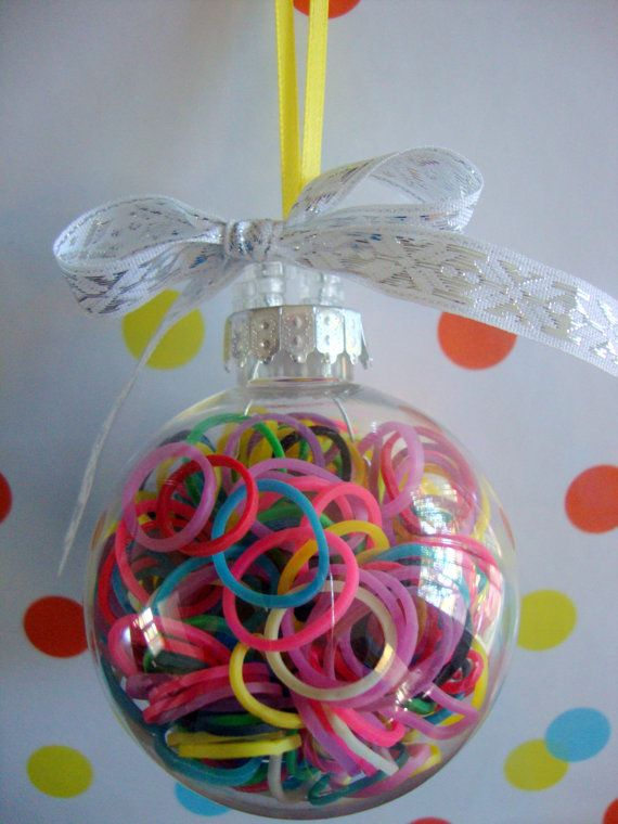 Rainbow Loom Rubber Band filled Ornament by GiftzandGreetingz, $8.00  I don't think the bands would stay in the ornament at our house.  Great memory though.