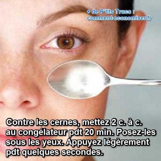 Après une nuit trop courte, on se réveille souvent avec des valises sous les yeux ! L'astuce pour ne plus avoir de cernes le matin est d'utiliser une cuillère. Regardez :-)  Découvrez l'astuce ici : http://www.comment-economiser.fr/yeux-gonfles-le-matin.html?utm_content=buffer5025f&utm_medium=social&utm_source=pinterest.com&utm_campaign=buffer