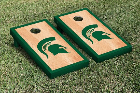 Michigan State Spartans Natural Wood Cornhole by JRHCornhole, $215.00