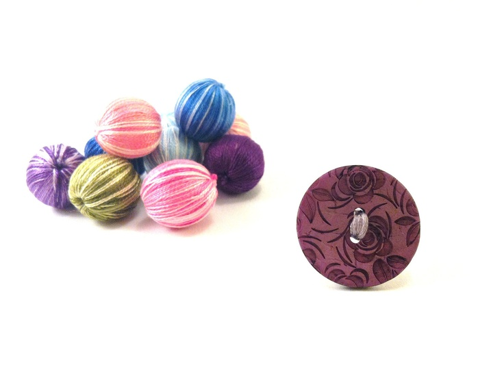 Wooden purple button ring with rosesFREE 1 if you by Mariabuttons