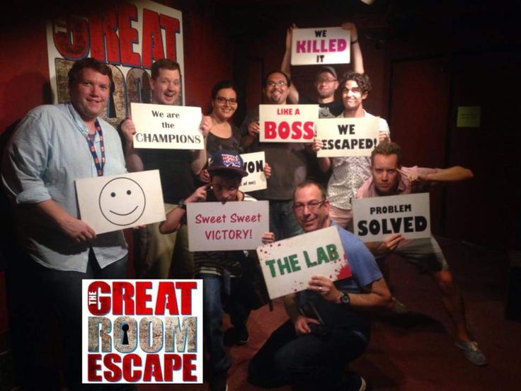 Darren Criss and friends at The Great Room Escape in San Diego ...