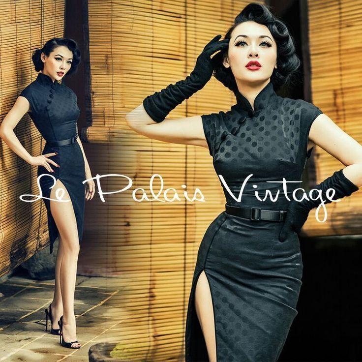 Le Palais Vintage Retro Sexy Black Jacquard Cheongsam Dress - Designed by Winny #LePalaisVintage #Cheongsam