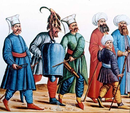 Ottoman man with a bell around his neck, Codex Vindobonensis 8626.