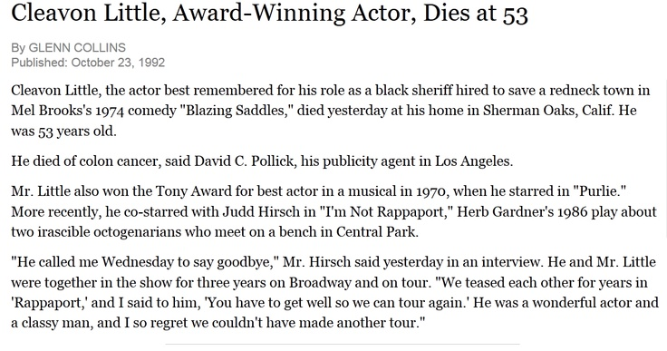 Cleavon Little's obituary