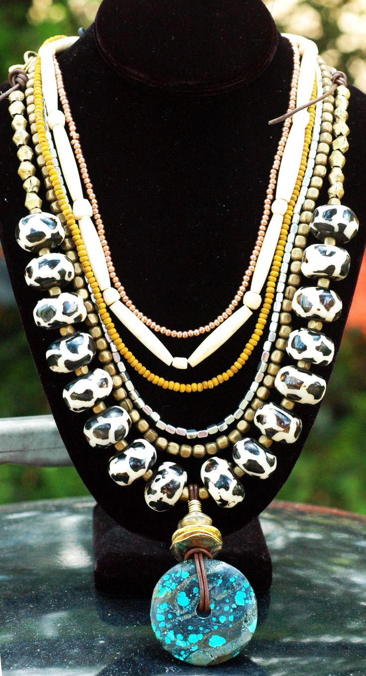 Exotic fashion jewelry - Wonderful Exotic And Ethnic Giraffe Print Bone Mustard Brass And Turquoise Pendant Layered