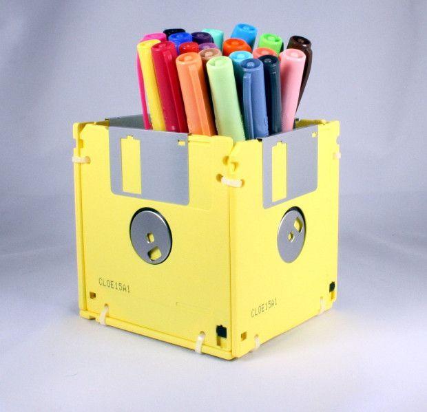 Porta-Treco com Disquetes #diy #floppydisk #disquete #reciclar #reaproveitar
