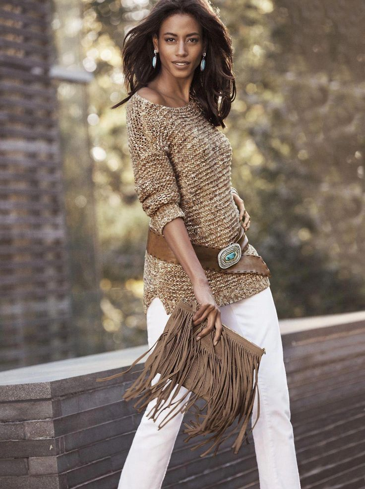 Wear what you love. Love what you wear. Our Textured Sherri Pullover is pairs perfectly with our Frangetta Fringe Bag. #fashionforwomenover50outfitswh...