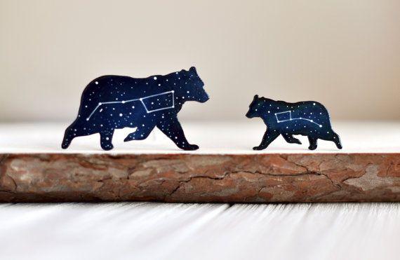 Set of brooches Little Dipper gift Brooch Big Dipper Ursa major Blue wooden brooch Ursa Minor Constellation Little bear brooch Night sky