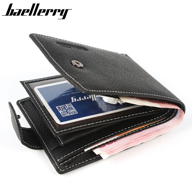 Baellerry New 2017 Leather Men Wallets 100% Genuine Leather Wallets For Men Short Coin Purse With Pocket Male Card Holder