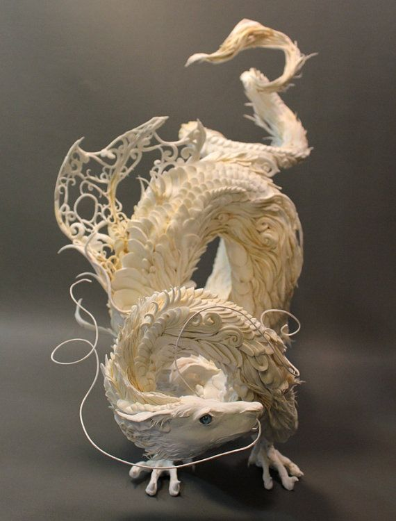 White Asian Dragon original OOAK sculpture door creaturesfromel, $1025.00