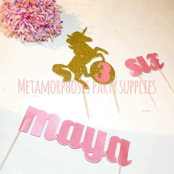 What do you guys think of my new cake toppers? Www.Fb.Com/metamorphosistea  #glitter #unicorn #cake #party #birthday #uniquepartygifts #htlmp #scriptletters #handmade #sparkle
