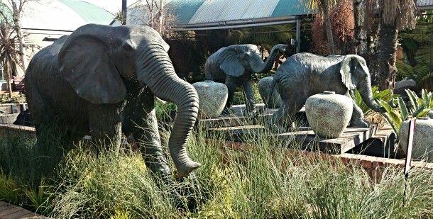 Bronze Elephantss in the Garden