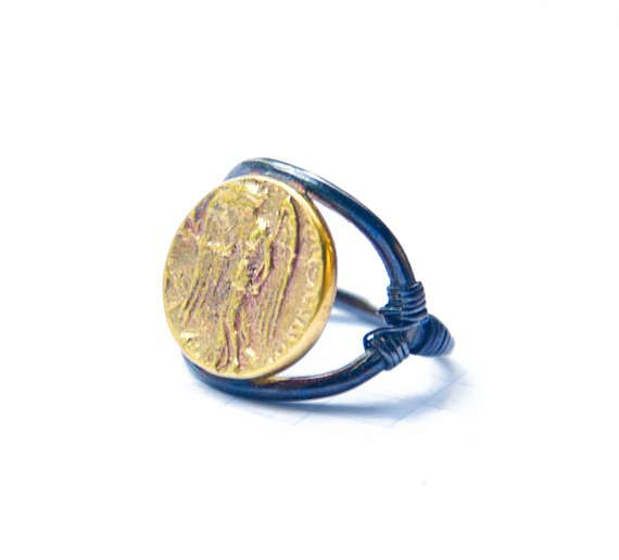 Nike Gold Coin Ring Ancient Greek Coin Ring  Sterling Silver