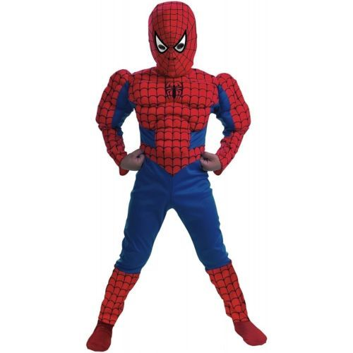 Boys Spiderman Halloween Costume Small 4 6 Deluxe Muscles Muscle Chest | eBay