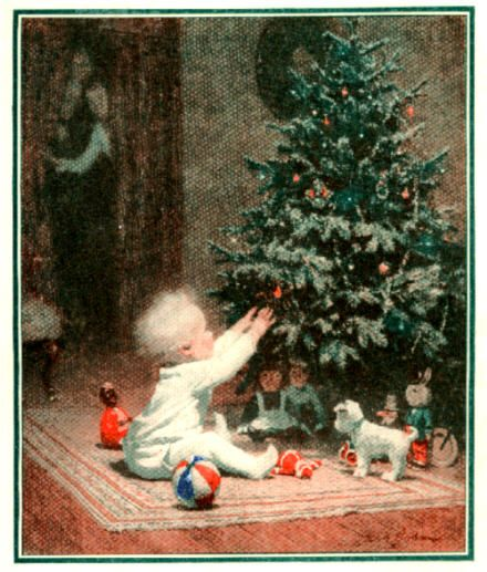 "§§§ . 1922 . ""His First Christmas"" painted by Worth Brehm for General Electric's Edison Mazda division."
