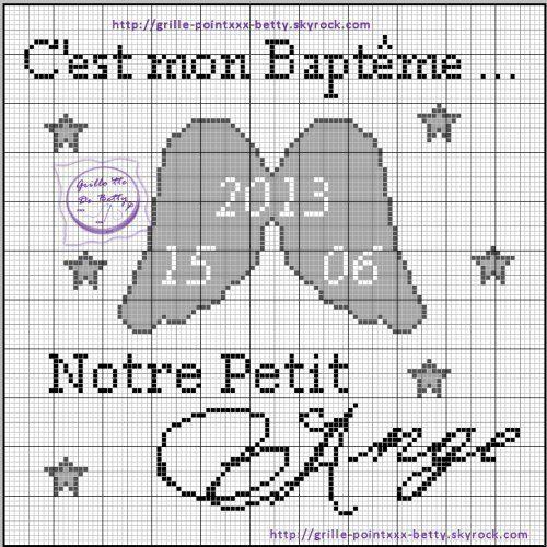 Bébé - baby - baptême - point de croix - cross stitch - Blog : http://broderiemimie44.canalblog.com/