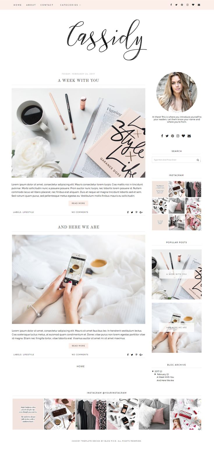 Premade Blogger template on Etsy. For fashion, beauty or lifestyle bloggers. A minimal, peach pink blog theme design with a brush script header.