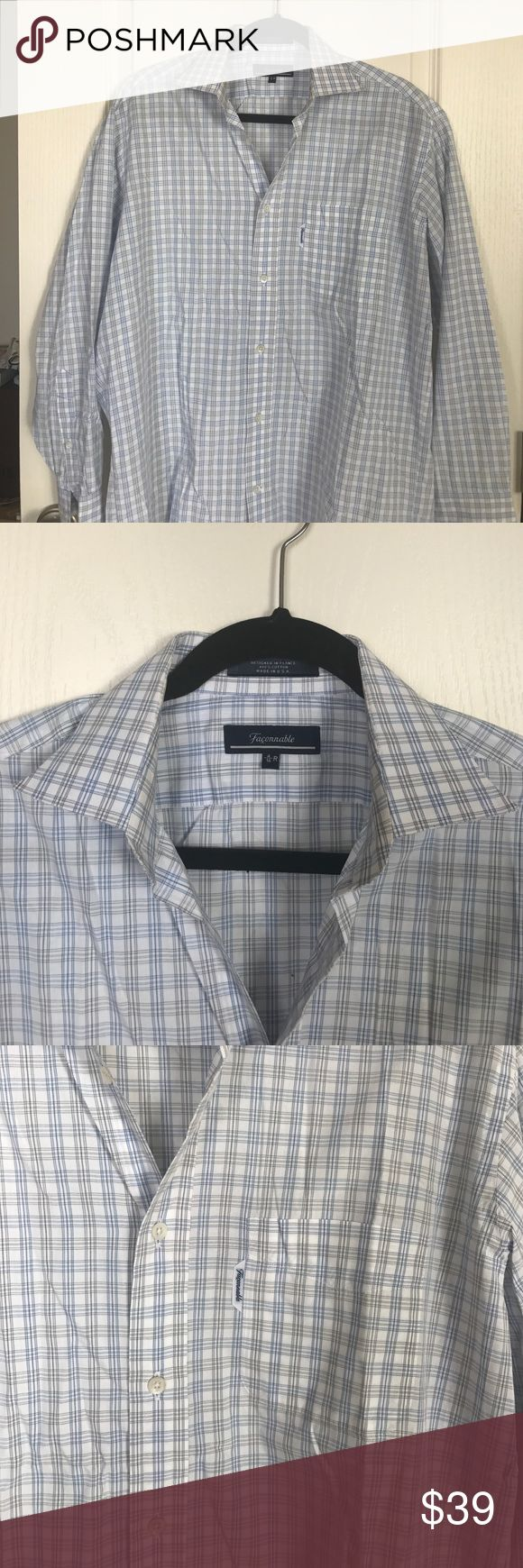 Faconnable Dress Shirt Long sleeves Faconnable dress shirt, blue and white checker pattern, size 4/16 R and fit like a M, some discoloration inside the collar as seen in the pictures but hard to see when wearing, still very good condition, great for interviews or meeting clients Faconnable Shirts Dress Shirts