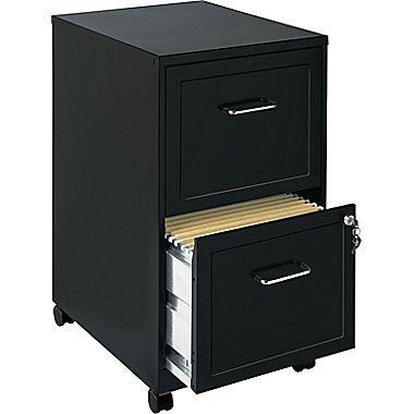 Hirsh - Classeur mobile vertical à 2 tiroirs, format lettre, noir