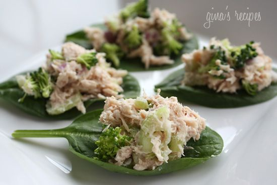 Low low low carb   Tuna salad on spinach