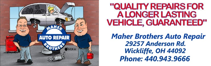 Maher Brothers Auto Repair 29257 Anderson Rd., Wickliffe Ohio 44092 provides car repair to brakes tires exhaust engine as well as performs preventative maintenace