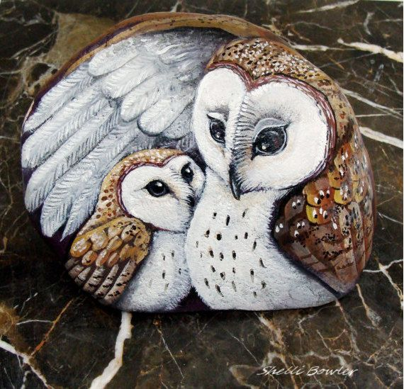 These rocks I use as my canvas in turning a once grey stone into something beautiful. A mother Barn Owl comforts her little one, giving him