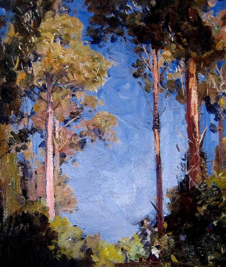 """Arthur Streeton - """"Seated Figure in the Forest"""". Oil on canvas, signed 'A. Streeton' lower left, 36.5 x 32 cm"""