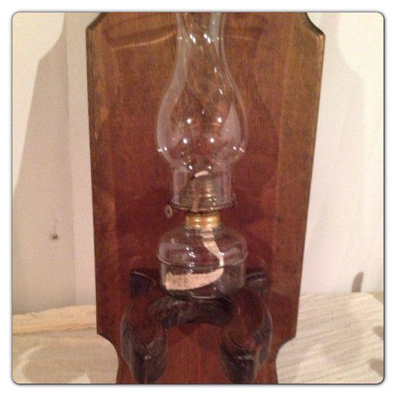 Vintage Wood Hurricane Oil Lamp Holder Shelf On Etsy 16